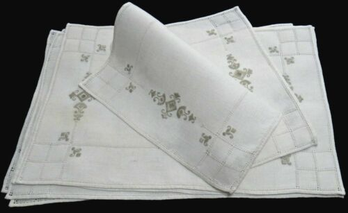 Punto Antico Embroidery Linen Placemats (8) Italy Ecru w/Taupe Hand Work Vintage