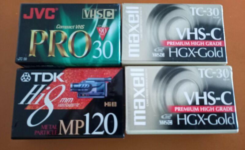 4 Camcorder Video Tapes,  VHS-C Maxell TC-30 HGX Gold & TDK & JVC PRO 30, NEW