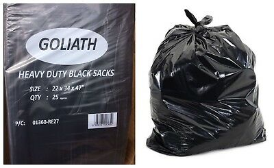COMPACTOR Black Sacks | GOLIATH 280G BIN LINERS | Refuse/Rubbish/Waste/Bin Bags ()