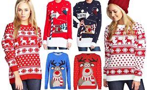Mujer-Hombre-Unisex-Navidad-Renos-a-la-pub-Pom-Pom-Rudolf-Puente-Sudadera-Top