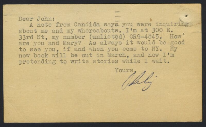 Philip ROTH (Writer): Typed Postcard Signed to John CHEEVER (Writer)
