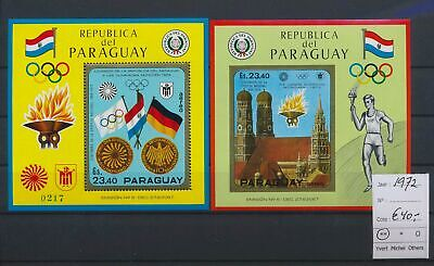 LO17173 Paraguay 1972 perf/imperf sports olympics sheets MNH cv 40 EUR
