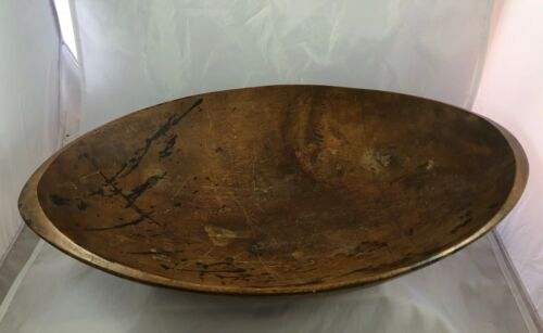 Antique Primitive Folk Art Wooden Kitchen Oval Bread Biscuit Dough Bowl