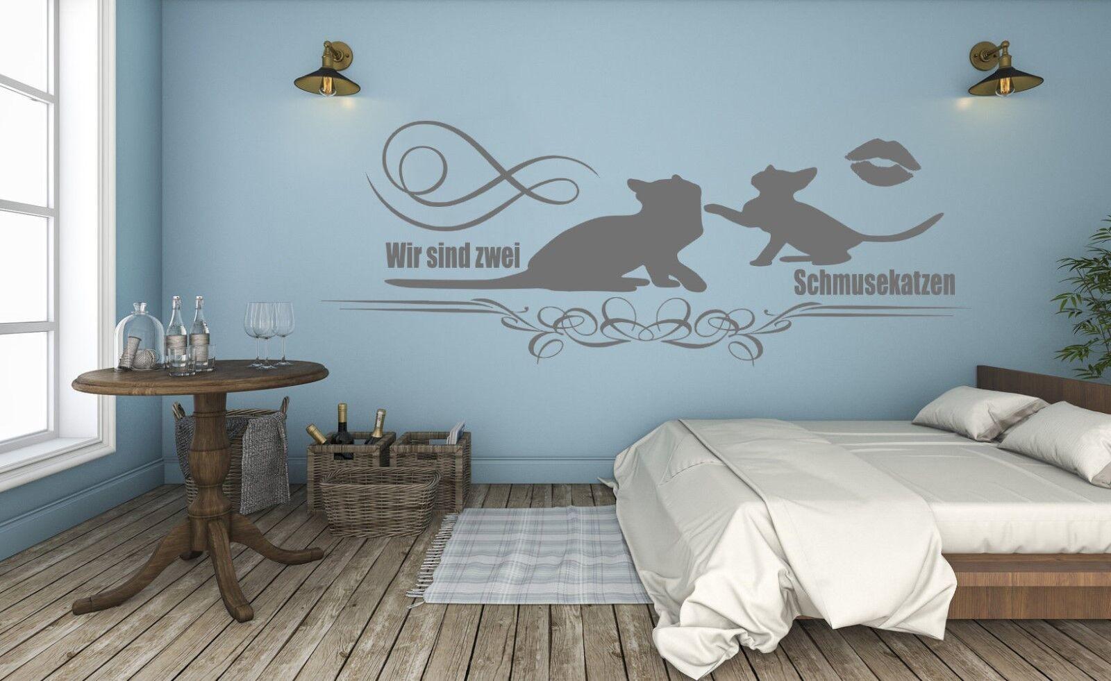 wandtattoo schlafzimmer wir sind zwei schmusekatzen mit katzen liebe paare pk125 eur 11 90. Black Bedroom Furniture Sets. Home Design Ideas