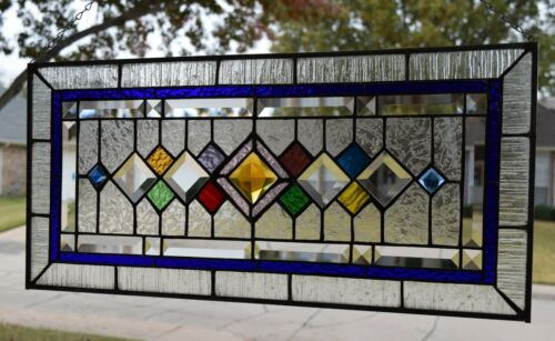 Transom Style Stained Glass Window  ( 25 ¾ x 12 )