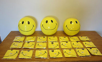 """24 NEW LARGE 15"""" SMILE FACE INFLATABLE BEACH BALLS  POOL BEACHBALL PARTY FAVORS"""