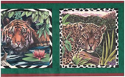 ZEBRA LION AND TIGER IN FRAMES WILD ANIMALS JUNGLE Wallpaper bordeR Wall - Jungle Border
