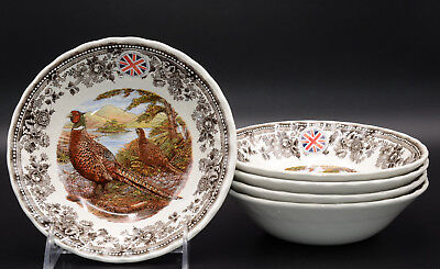 """Queen's Quintessential Game * 5 CEREAL BOWLS * Pheasants Birds,  6.5"""", New!"""