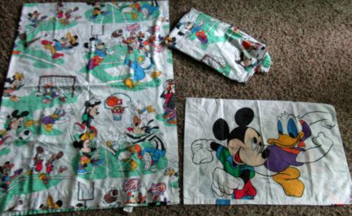 Vintage Disney Mickey Minnie Donald Daisy Goofy Twin Sheet Set