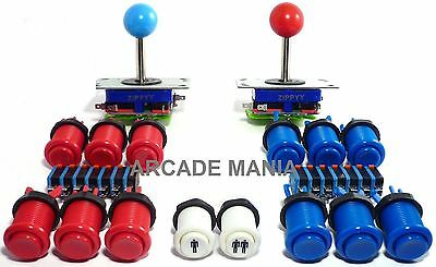 2 Player Arcade Control Kit, 2 Long Shaft Ball Top Joysticks, 12 Concave Buttons