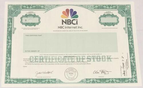 1999 NBC INTERNET, INC. NBCi Stock Certificate SPECIMEN