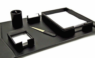 Desk Accessories - Warwick 6-piece Black Leather Desk Set