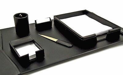 Desk Accessories - Warwick 6-piece Black Leather Desk Set