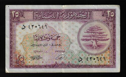 Lebanon 25 Piastres 1950  P#42. (CRISP)