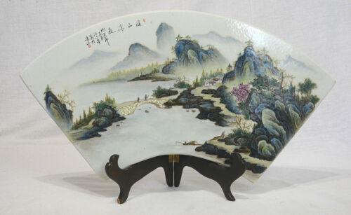 Chinese  Fan  Shape  Famille  Rose  Porcelain  Plaque  2