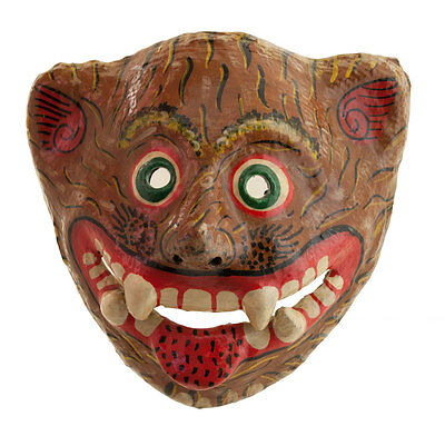 Mask Ethnic of Ritual Nepalese Paper Mache POLYCHROME-DIVINITE-TIGRE-3932