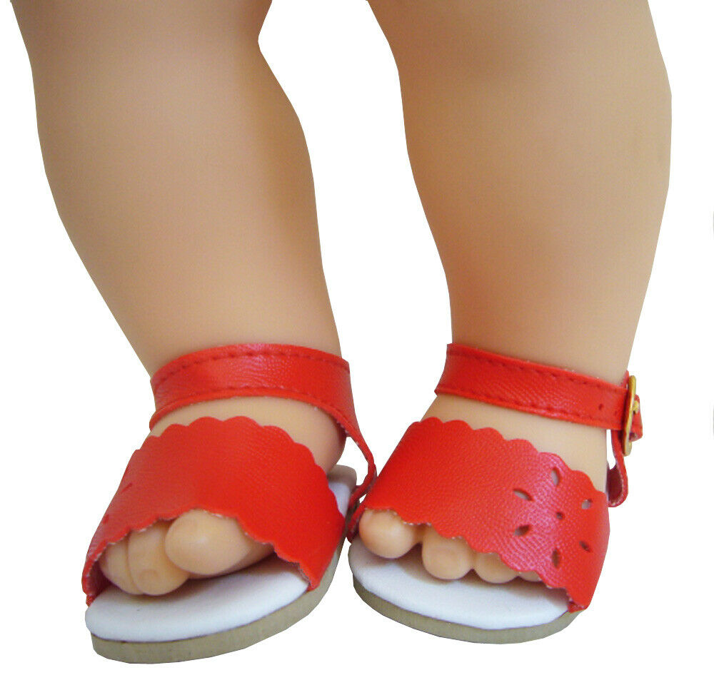 Red Scalloped Sandals Shoes for Bitty Baby Doll Clothes 2 5/8 x 1 1/2 inches