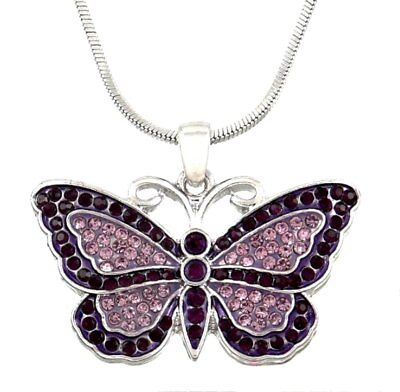 Silvertone Purple Amethyst Color Crystal Butterfly Pendant Necklace
