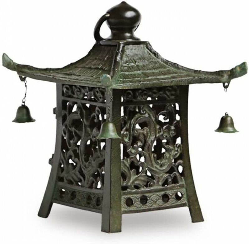 Toro Japanese Bronze Hanging Lantern Takaoka Craft square Sukashi pattern Japan