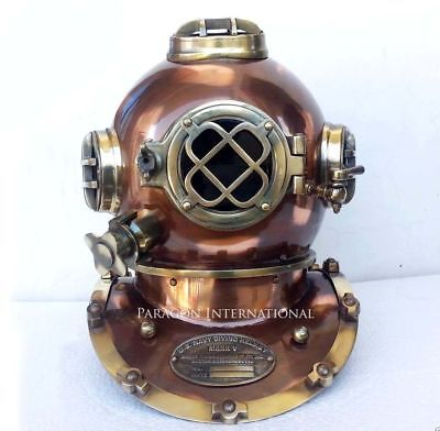 US NAVY MARK V ANTIQUE DIVING DIVERS HELMET BRASS STEEL FULL SIZE VINTAGE GIFT