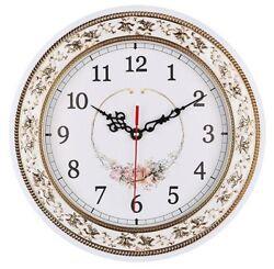 NEW Tebery Silent Modern Quartz Flower Design Decorative Wall Clock Non-ticking