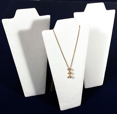 3 White Velvet Pendant Necklace Jewelry Display 9
