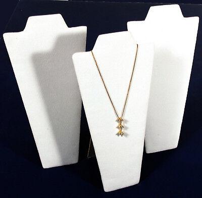 3 White Velvet Pendant Necklace Jewelry Display 9