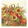 FALL BASKET 20 Luncheon Paper Napkins by IHR - Sunflowers, Pumpkins, Berries