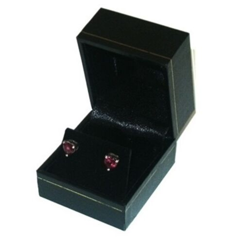 6 Classic Black Leatherette Earring Jewelry Display Gift Boxes