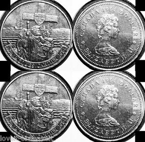 2x-CANADA-1984-CANADIAN-JACQUES-CARTIER-EXPLORER-RARE-1-DOLLAR-SEALED-COINS-LOT