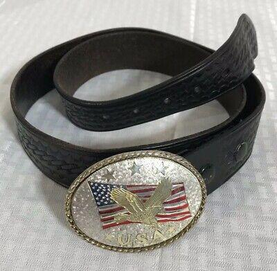 Gould Goodrich 42 Black Weave Belt With Usa Buckle Flag Eagle Patriotic Vtg