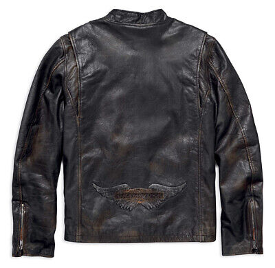Harley Davidson Speed Distressed Black Leather Jacket Men's XL Slim