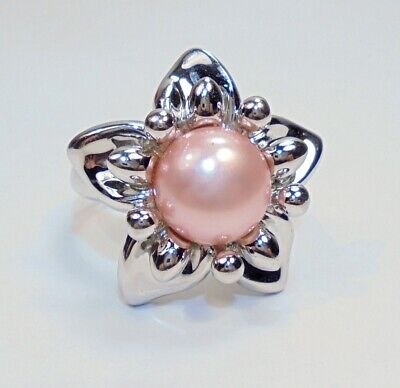 Honora Sterling Silver Flower Design Cultured 9.5mm Pink Pearl Ring Sz 8.25 Pink Pearl Flower Ring