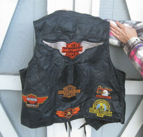 HARLEY DAVIDSON FULLY PATCHED VINTAGE BIKERS VEST  / SCHOTT USA