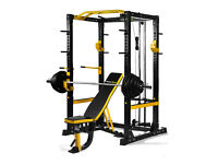NEW POWERGYM FITNESS HEAVY DUTY COMMERCIAL POWER RACK CAGE + BENCH + OLYMPIC BAR AND WEIGHTS