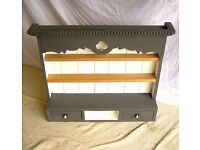 DINING / LIVING / SHABBY CHIC BESPOKE PINE VICTORIAN STYLE WALL HANGING SPICE RACK SHELVES & DRAWERS