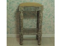 Handcarved antique solid wood and woven stool