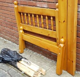 single-size pine wood bed frame. Very good condition