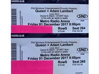 ****SOLD*****Queen & Adam Lambert 1st December Newcastle: 2 tickets for face value price