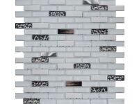 LUXURY ICE WHITE BRICK MOSAIC TILES 1.5X4.8 4 SHEETS -Stone Glass Mosaic Tiles -NEW