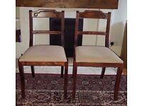 Set of Two Vintage Dark Wood Chairs
