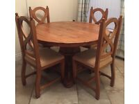 Mexican Pine Round Dining Room Table & Four Chairs