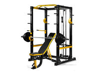 NEW POWERGYM FITNESS HEAVY DUTY COMMERCIAL POWER RACK CAGE PACKAGE+ BENCH + OLYMPIC BAR AND WEIGHTS