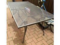 Brown metal outdoor table
