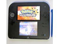 Nintendo 2DS BLUE/BLACK with 120 Games (37 Pokem0n) + Charger