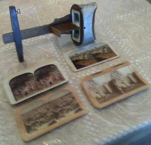 Antique Monarch 3D stereoscope slide viewer with 38 slides
