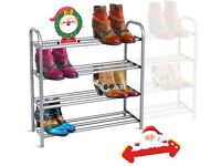 Extendable Shoe Rack 4 Tier, Heavy Duty Shoe Storage Rack Free Standing for Closet Entryway