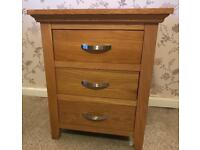 Solid oak bedside table