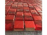 16 SHEETS OF RED & GOLD MOSAIC TILES KITCHEN BATHROOM CRAFT GOOD QUALITY CHUNKY