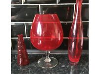 3 PIECES OF RED GLASS